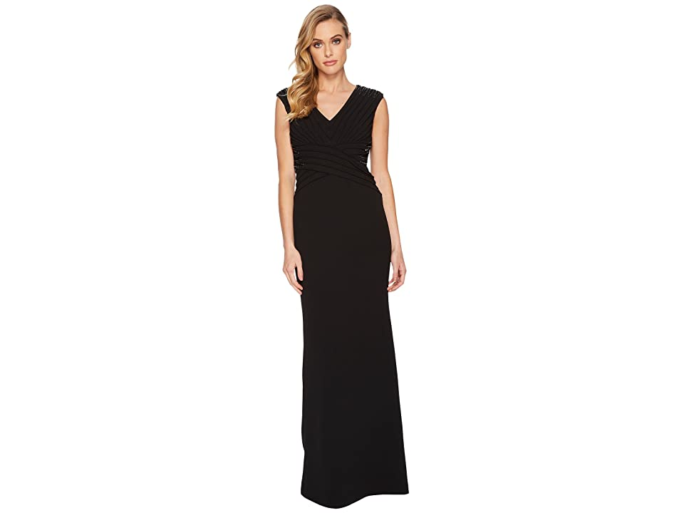 Adrianna Papell Stretch Leger Gown with Beaded Accents At the Waist and Shoulder (Black) Women