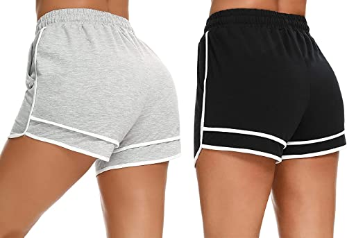 Doaraha Short Femme Sport Coton Été avec Deux Poches Femme Short Doux Élastique Pratique pour Gym Fitness Jogging Yoga