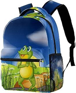 حقيبة ظهر غير رسمية حقيبة كتب للمدرسة الثانوية والمدرسة الثانوية للتنزه والتخييم حقيبة نهارية ضفدع ينظر إلى النجم الساطع