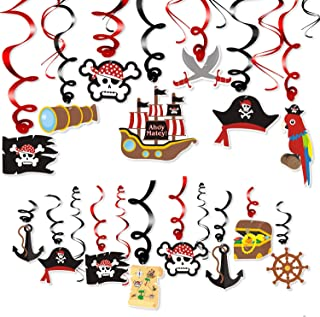 Levfla 30CT Pirate Party Hanging Foil Swirls Decoration Kids Birthday Photo Props Adventure Ideas Ceiling Captain Hat Skull Treatures Parrot Cutouts Halloween Door Whirls Streamers Favor Supplies