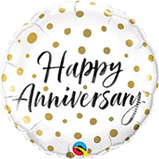 Qualatex Happy Anniversary Gold Dots Round Foil Balloon, 18-inch Size, multicolour
