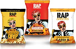 Rap Snacks Variety Pack (Cardi B Honey Drip Butter Popcorn, Cardi B Habanero Hot Cheese Popcorn, Cardi B Cheddar Bar-B-Que) 2.75 oz Popcorn/Potato Chip Bags