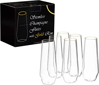 Gold Stemless Plastic Champagne Flutes Tritan 6 Pack 8 Ounce - Elegant Reusable BPA-free Shatterproof Unbreakable Heat Resistant Clear Plastic Toasting Glasses Wedding Outdoor Champagne Flute