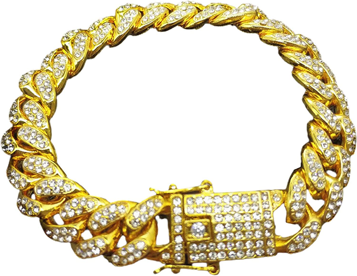 Hip Genuine Hop Men Cuban Link Chain Rhinestone Shiny Inlaid Ba Spring new work one after another Bracelet