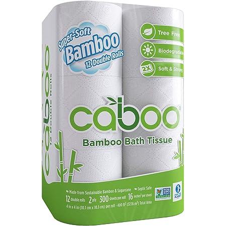 Caboo Papel Higiénico De Bambú Natural Séptico Seguro Biodegradable Papel Higiénico Ecológico Suave 2 Capas Hojas 1 1 Health Personal Care