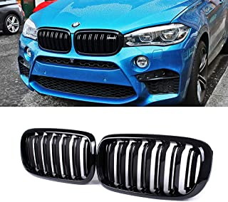 SNA Gloss Black ABS Front Kidney Grille with Double Slats Mesh Grill Compatible for BMW X5 F15 X6 F16 X5M X6M (2014-2019) 2-pc Set