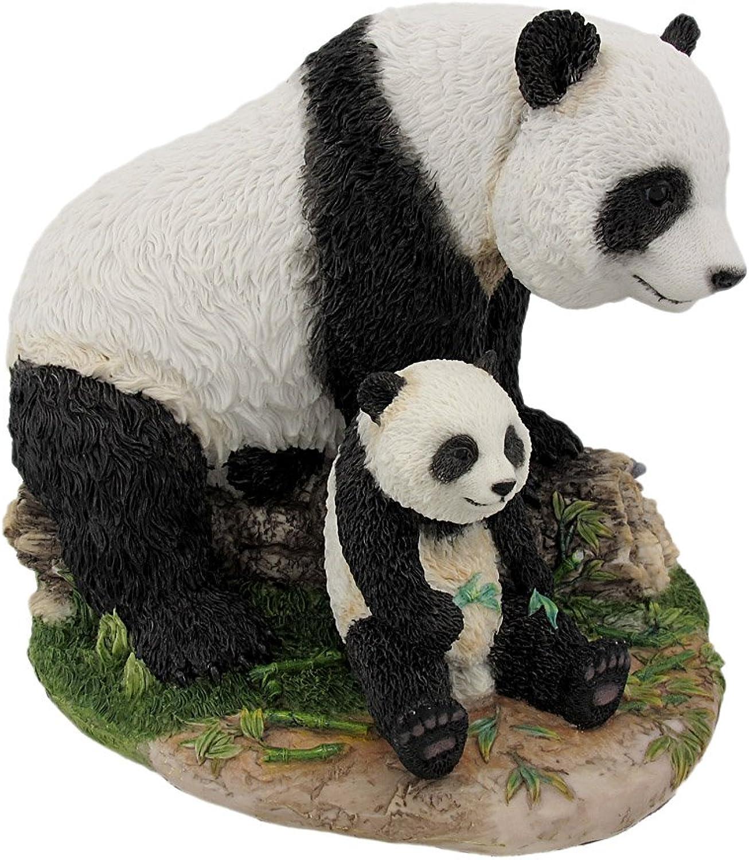 8 Inch Animal Figurine Sitting Panda Bear and Cub Collectible Display