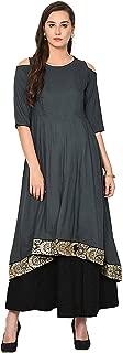 Aujjessa Women's Rayon Kurta with Skirt Set (Dark Grey)