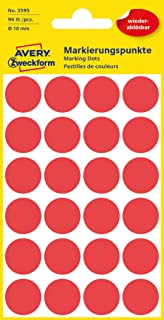 AVERY Zweckform 3595 selbstklebende Markierungspunkte Durchmesser 18 mm, 96 ablösbare Klebepunkte auf 4 Bogen, runde Aufkleber für Kalender, Planer und zum Basteln, Papier, matt rot