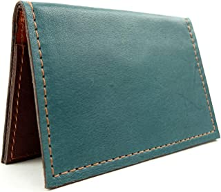 Minimalist Wallet in Teal Blue Leather with RFID Blocking