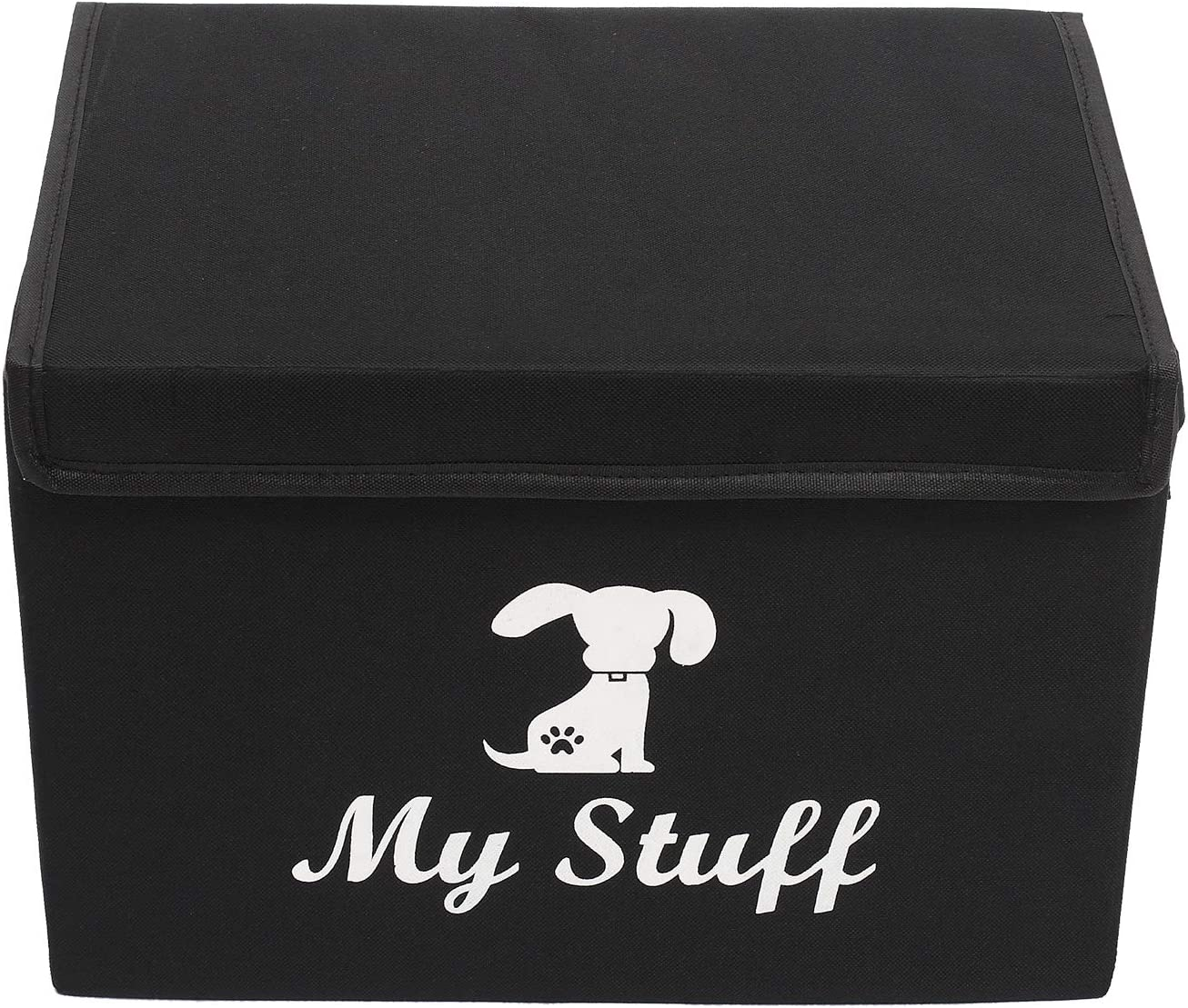 collapsible water resistant dog toy bin for organizing dog toys and stuff Morezi Dog storage bin 15x11x10 inch heavy duty dog toy basket with lid Black