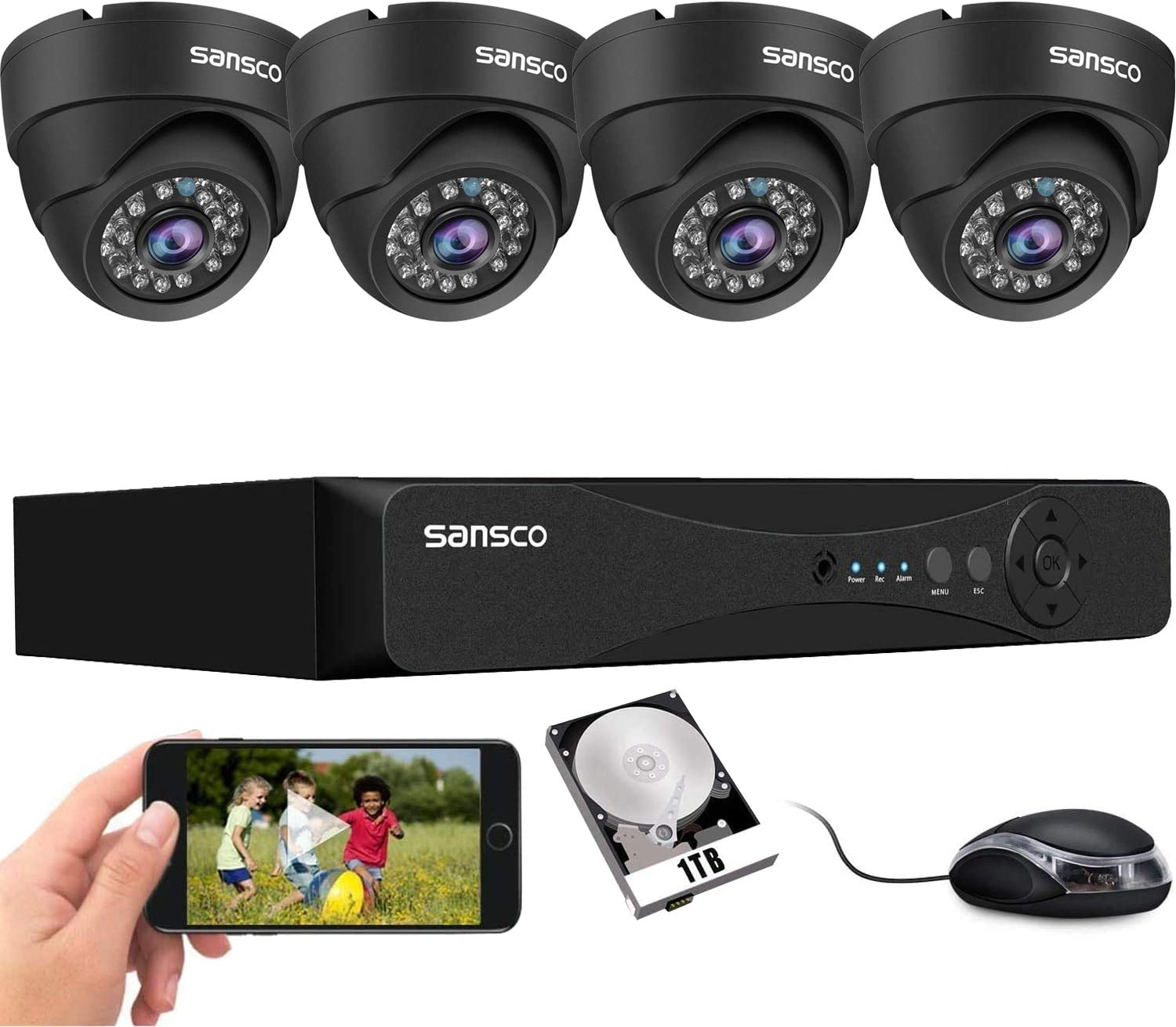 SANSCO 8CH Home Security Camera System with 5MP DVR Recorder and 4Pcs Indoor Outdoor CCTV Dome Cameras, 8 Channel DVR with 1TB HDD, Night Vision, Instant Email and APP Alarm Alert, Easy Remote Access