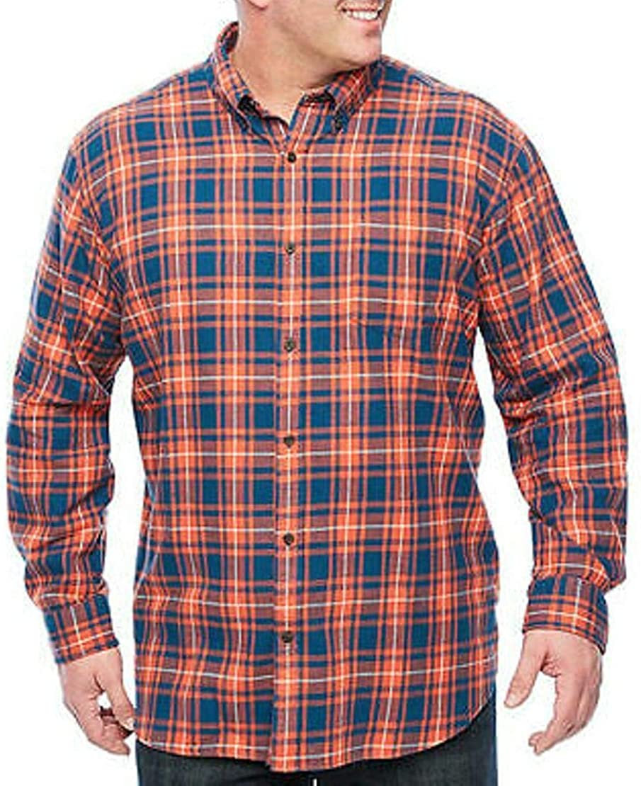 The Foundry Supply Men's Classic Fit Long Sleeve Flannel Shirt Orange Plaid