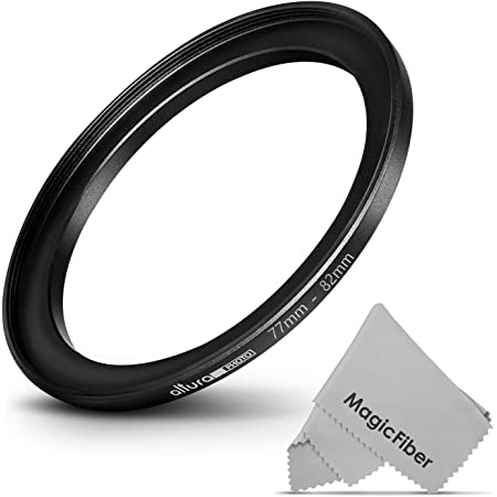 Altura Photo 77-82MM Step-Up Ring Adapter (77MM Lens to 82MM Filter or Accessory) + Premium MagicFiber Cleaning Cloth