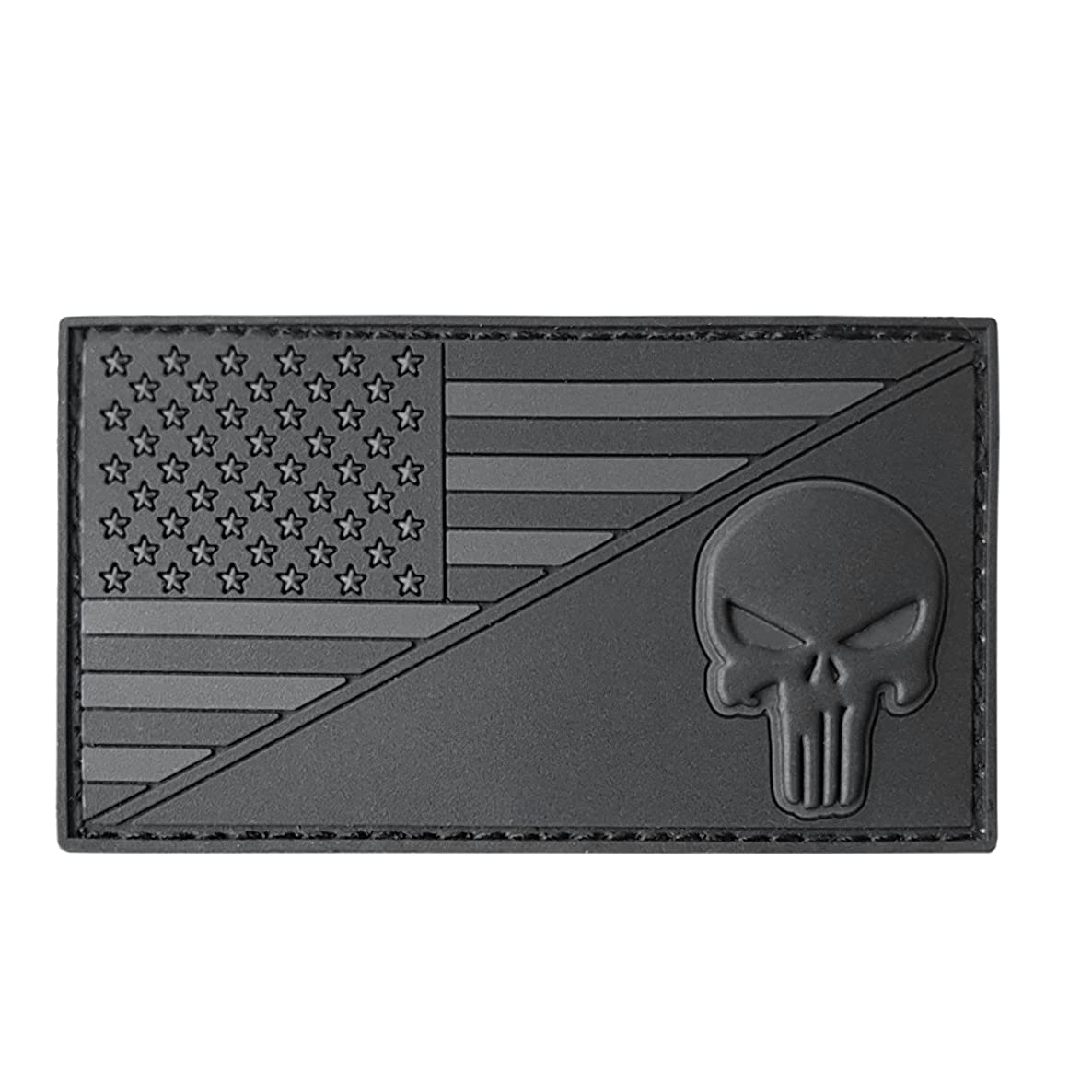 LEGEEON All Black USA American Flag Punisher Skull ACU Dark Subdued Morale PVC Rubber Touch Fastener