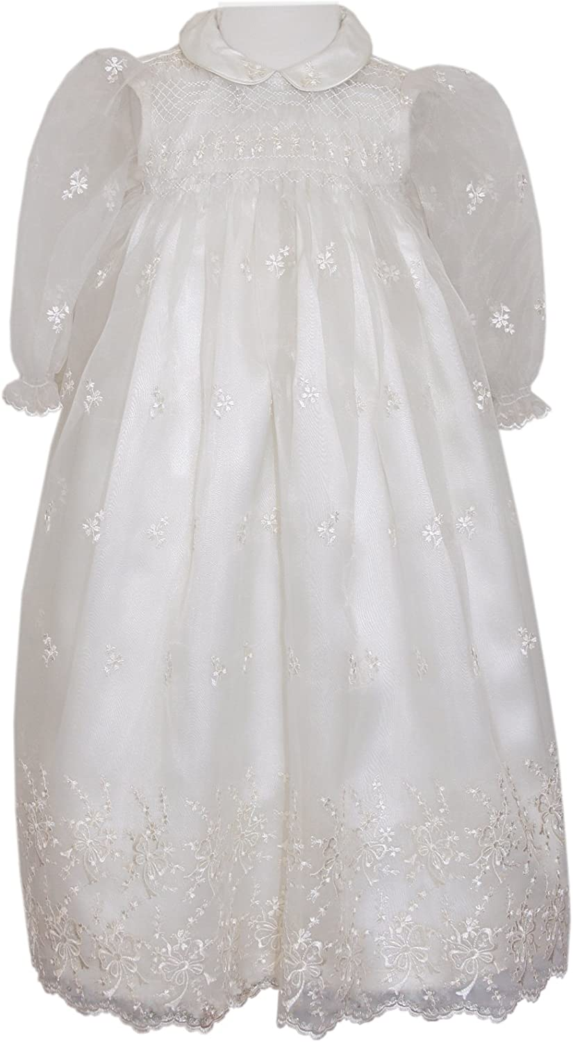 Baby Girl Ivory Organza Hand Bargain Indefinitely Smocked with Gown Christening Bonne
