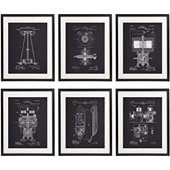 IDIOPIX Tesla Patent Prints Chalkboard Art Print Set of 6 Prints UNFRAMED No.1