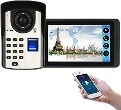Wifi Video Deurbel, Intercom, Appartement Video Deurtelefoon Beveiligingskit, Nachtzicht Camera + 7 Inch Monitor, Vingeraf...