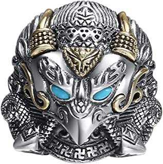 Two Tone 925 Sterling Silver Eagle Head Ring with Turquoise for Men Boys Adjustable Size 8.5-11