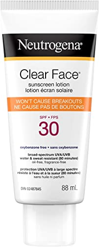 Neutrogena Sunscreen Lotion for Acne Prone Skin, Water Resistant, Non Comedogenic, 88 mL Travel Size