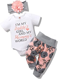 NZRVAWS Infant Baby Girl Summer Clothes Newborn Girl Outfits Ruffle Romper Bodysuit Onesies+Pants Baby Girls' Clothing