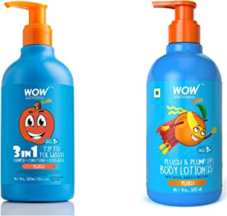 WOW Skin Science Kids 3 in 1 Tip to Toe Wash + Plush & Plump Body Lotion - Peach - 600mL combo