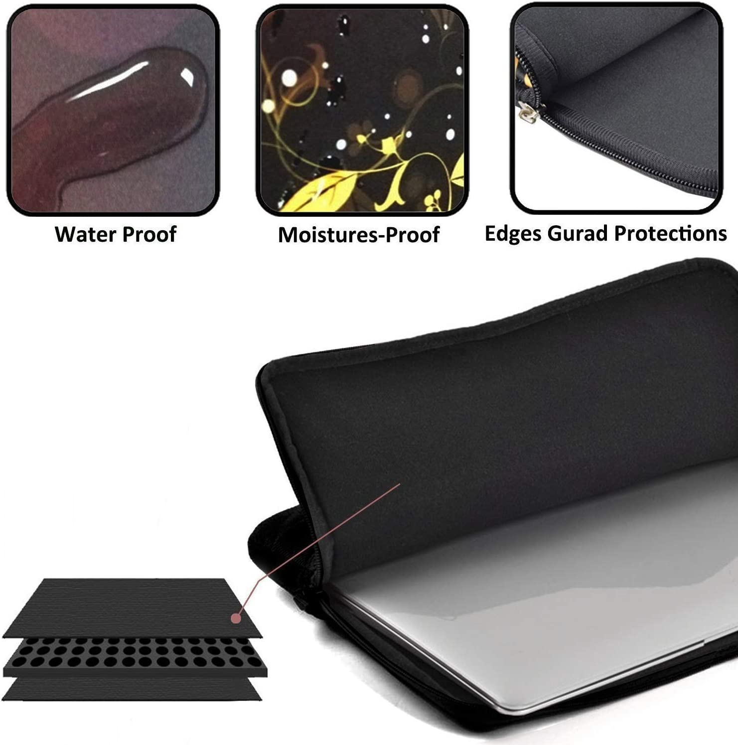 Laptop Sleeve Bag Neoprene Handbag Protective Bag Cover Case for 13 15 Cases Cats Laptop Carrying Case Waterproof Laptop Sleeve