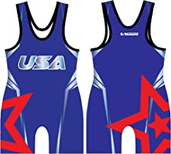 5Kount Free Style Star Sublimated Wrestling Singlet Set Red and Blue