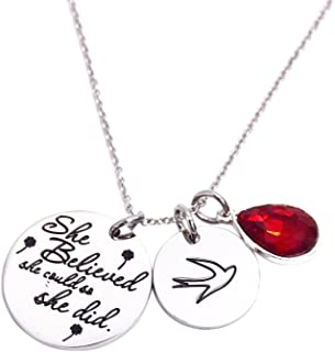 She Believed She Could So She Did Pendant Necklace Birthstone Motivation Jewelry