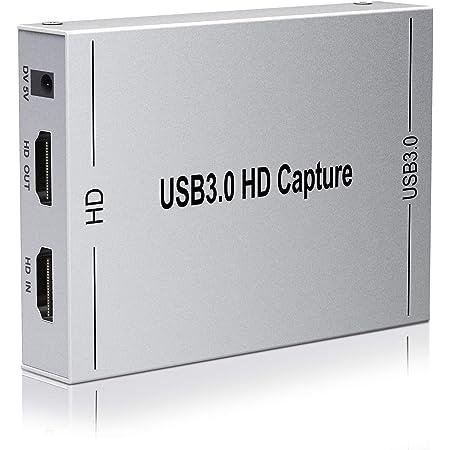 ALTENG HDMI キャプチャーボード ゲームキャプチャー ビデオキャプチャー 軽量小型 USB3.0 HD1080P 60HZ 60FPS PC/PS4/Xbox/PS3/携帯電話用 Windows Linux OS X対応 OBS Potplayer XSplit適用 YouTubeなどに ゲーム録画 実況 配信 ライブ会議用 (銀色)