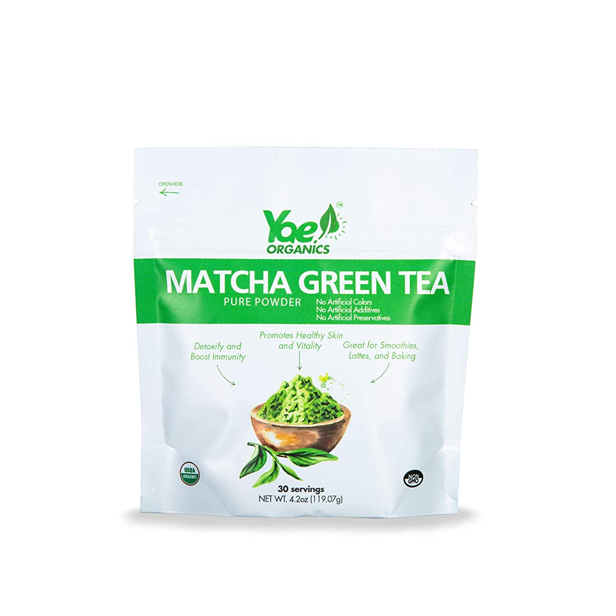 Yae! Organics 100% Pure Matcha Green Tea Powder, 4.2oz/30 Servings, Supports Immunity & Detoxification, Great for Energy, Focus, and Weight Loss