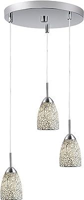 Iluminación Woodbridge 13224stn - m20whtt Venezia 3-Light Níquel satinado multi-colgante de luz con blanco mosaico de vidrio
