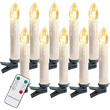 Weihnachten IP44 Wasserdicht,f/ür Weihnachtsbaum Hengda 10er LED Kerzen Kabellos,Warmwei/ß /& RGB Flammenlose Weihnachtskerzen mit realistischen tanzenden LED Flammen Weihnachtsdeko