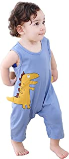 COTTON FAIRY Newborn Baby Boys Cute Yellow Dinosaur Printing Romper Sleeveless Jumpsuit Bodysuit Onesies Clothes Light Blue