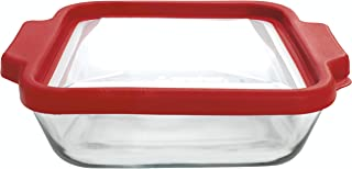 Anchor Hocking 8-InchSquare Glass Baking Dish with TrueFit Cherry Lid -