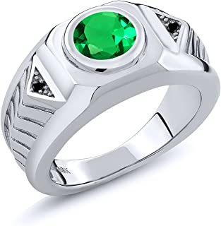 1.68 Ct Round Green Simulated Emerald Black Diamond 925 Silver Men's Ring