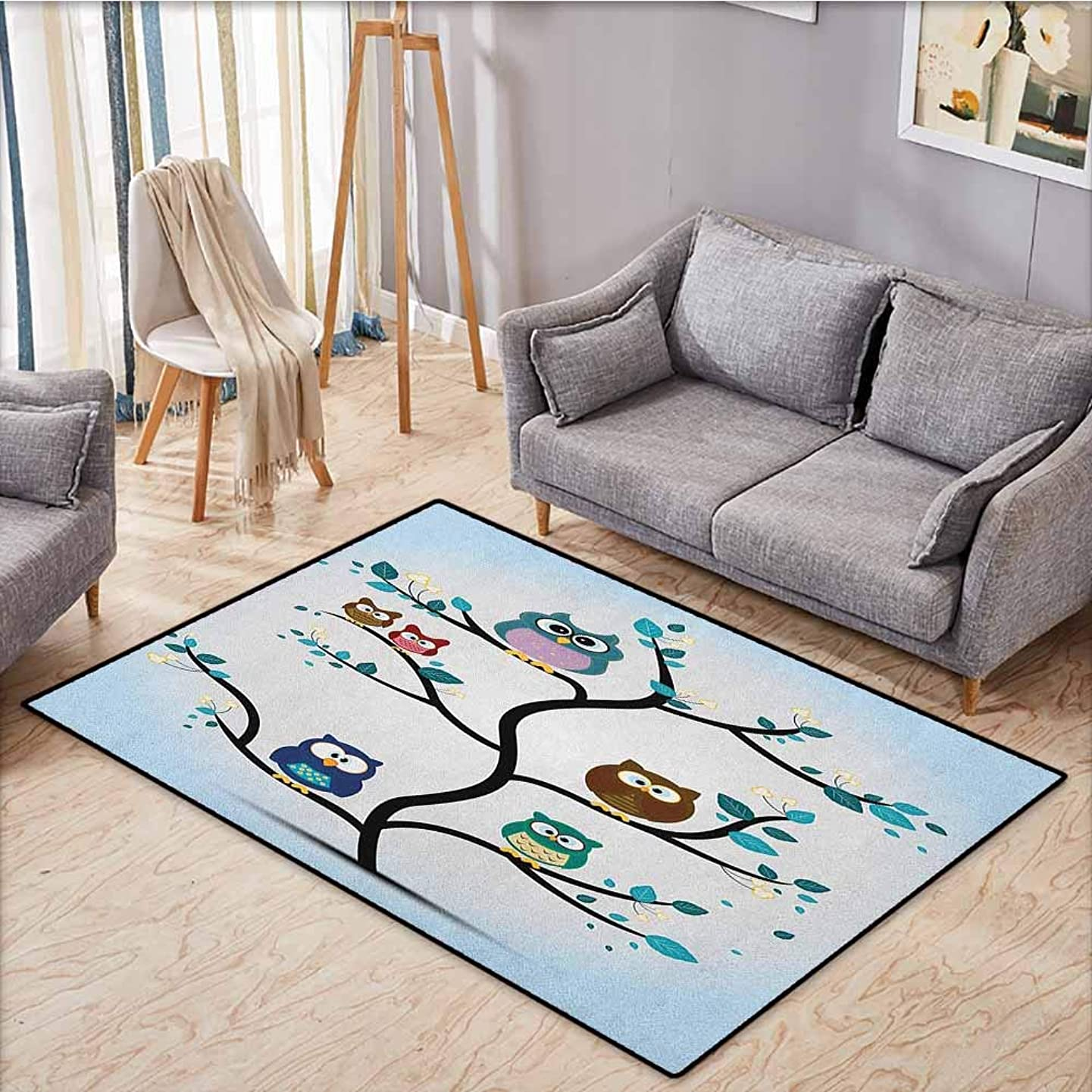 Living Room Rug,Owl,Owl Family Perched on a Tree Love Grace Nocturnal Eyed Night Animals in The Nature Print,Anti-Static, Water-Repellent Rugs,4'7