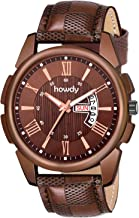howdy Brown Dial Day n Date Display Brown Leather Strap Analogue Wrist Watch for Men & Boyys C-567