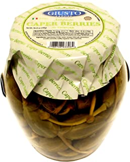 Giusto Sapore Caper Berries in Vinegar Antipasto 10.23oz - Non GMO Italian Premium Gourmet Brand - Imported from Italy and Family Owned