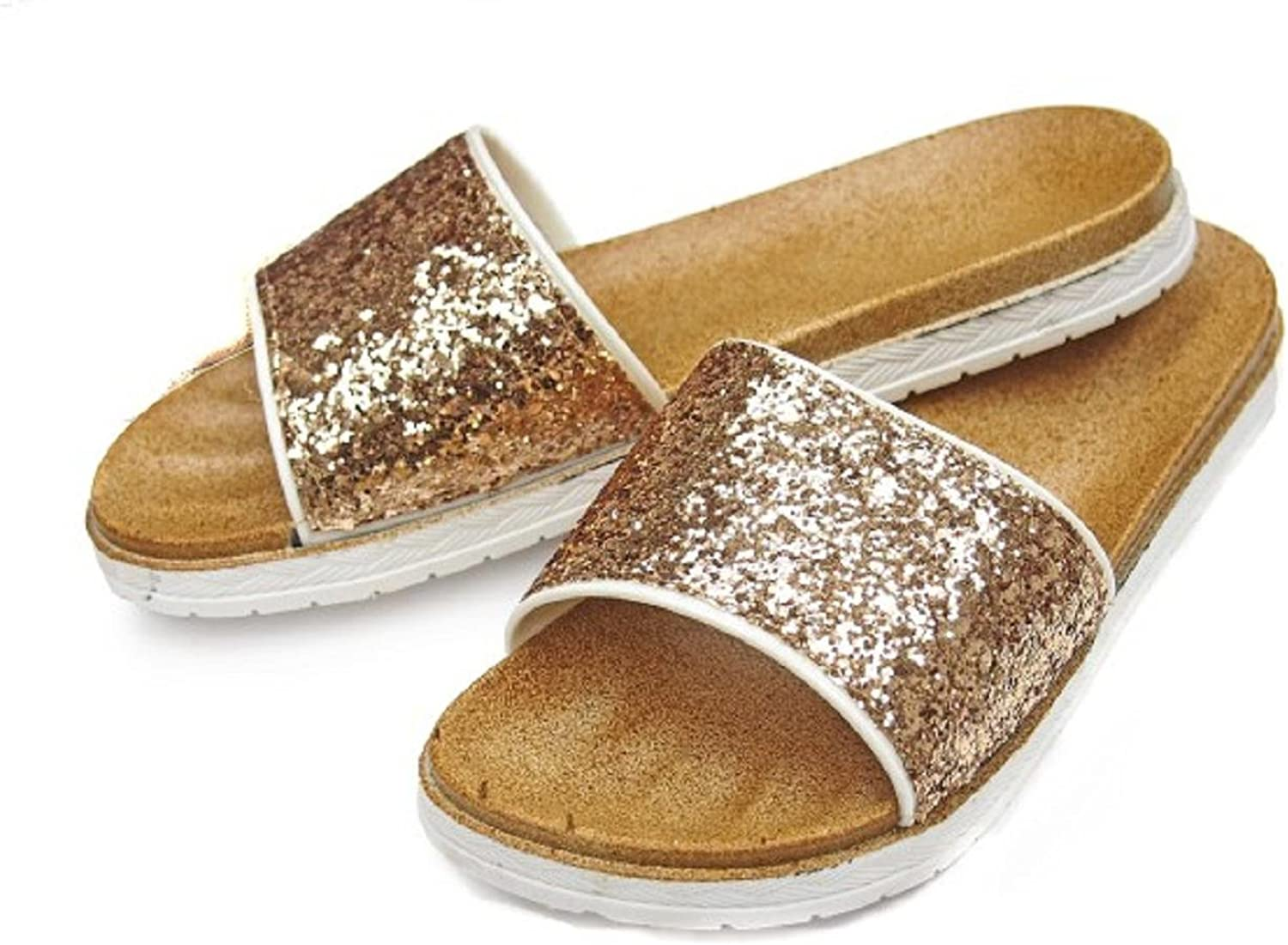 DINY Home & Style Ladies Women's Glitter Faux Leather Slide Sandals