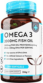 Omega-3 ren fiskolja 2000 mg – 660 mg EPA & 440 mg DHA per daglig portion – 240 mjuka gelkapslar – 4 månaders för-brukning...