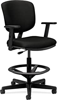HON HON5705AGA10 Volt Task Stool   Extended Height, Footring   Adjustable Arms   Black Fabric, Upholstered Back,