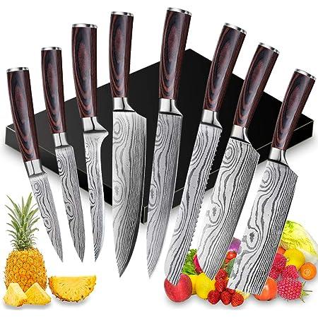 8 PCS Ensemble Couteau de Chef Professional,Couteaux de Cuisine japonais en Acier Inoxydable 5Cr15Mov Carbone, Lame de Couteau Extra Tranchante avec Manche Ergonomique,pour le maisons et le restaurant