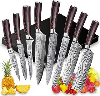 8 PCS Ensemble Couteau de Chef Professional,Couteaux de Cuisine japonais en Acier Inoxydable 5Cr15Mov Carbone, Lame de Cou...