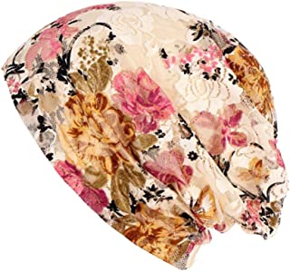 Highpot Women Floral Lace Beanie Hat Chemo Cap Stretch Turban Hat Head Scarf Wrap