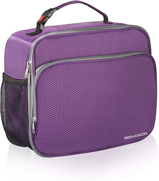SEEHONOR Insulated Lunch Box Thermal Durable Reusable Lunch Bag Lunch Tote Bag Bento Bag Soft Bag For Women Office Work School Picnic Hiking Beach Purple