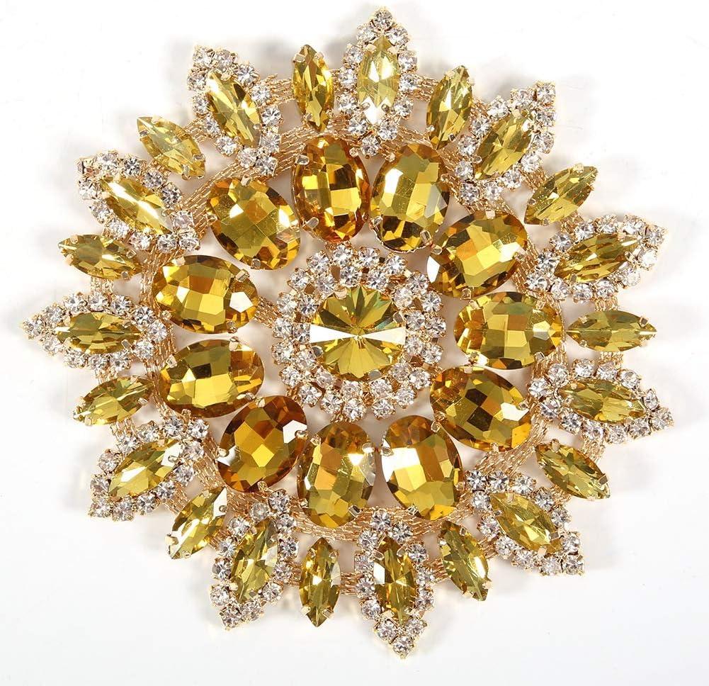 Crystal Flower Shoe Clips Vintage Crystal Rhinestone Brooch Pin for DIY Wedding Decoration Hair Accessories Gold Base Green Golden Base Crystal Glass Rhinestones Decoration