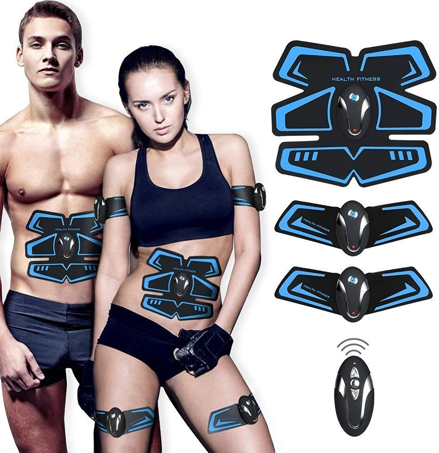 AILIDA ABS Muscle Toning Belts, EMS Muscle Trainer with Remote Control  USB Rechargeable Abdominal with Rhythm & Soft Impulse for Men and Women