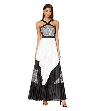 BCBGMAXAZRIA Pleated Lace Evening Gown (Off-White Combo) Women
