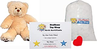 Make Your Own Stuffed Animal Mini 8 Inch Furry Brown Teddy Bear Kit - No Sewing Required!